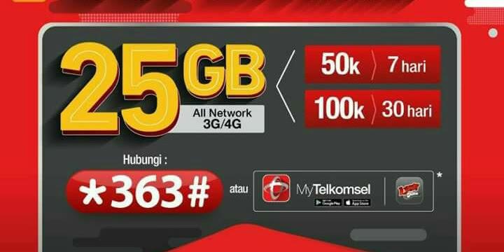 Paket Murah Telkomsel 25 GB Flash 3G/4G 24 Jam, mau ?
