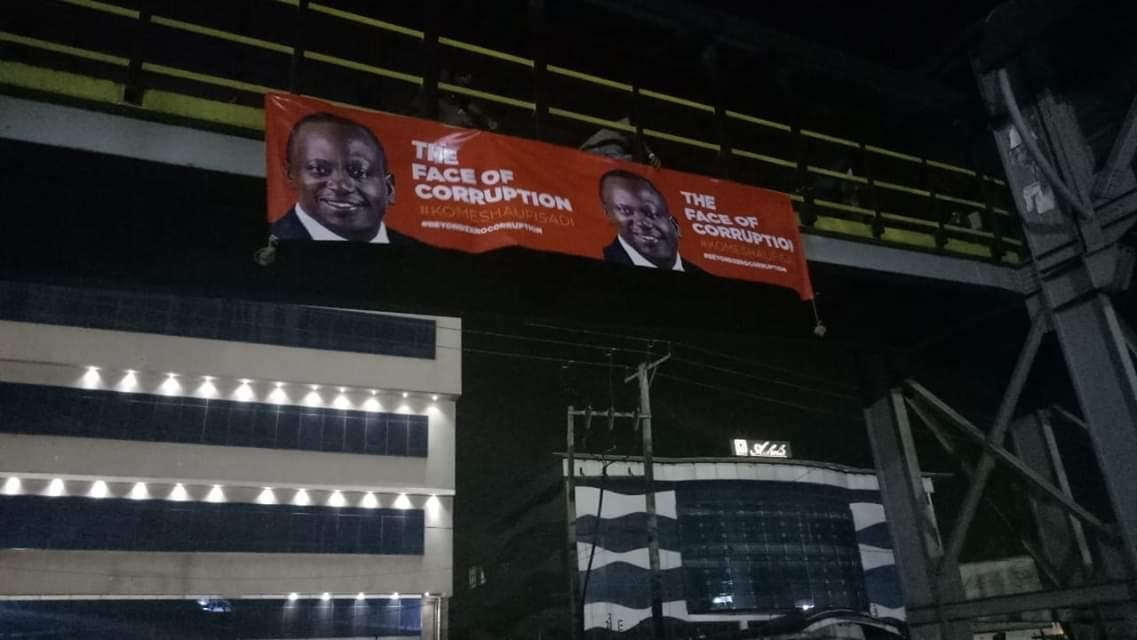 baner%2B1 - Banners of UHURU and RUTO calling them the real faces of corruption hanged across Nairobi as revolution beckons(PHOTOs).