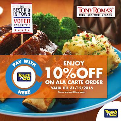 Touch 'n Go Malaysia TONY ROMA'S Discount Promo