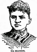 Sketch of a young woman in a high-collared shirtwaist; her hair is styled very compactly on the top of her head.