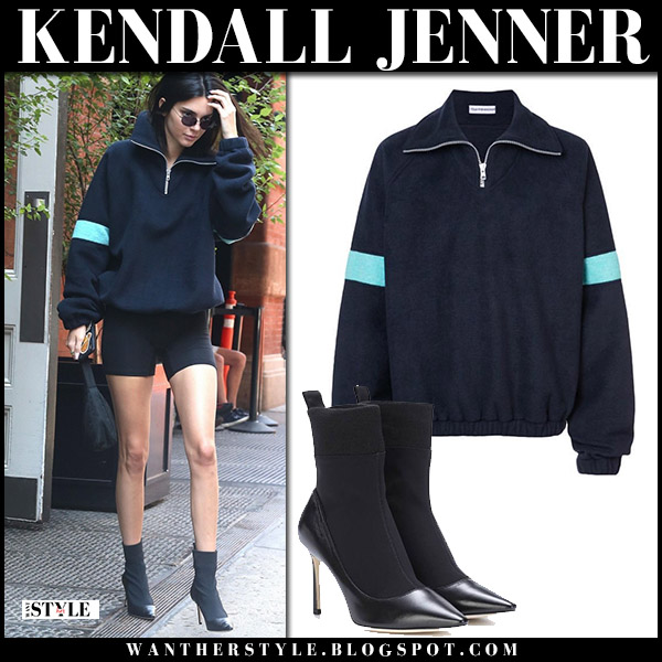 Kendall Jenner in navy sweatshirt, black bike shorts and black ankle boots jimmy choo brandon model street fashion june 7