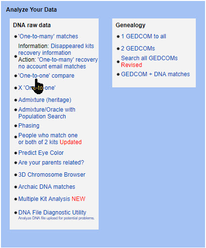 GEDmatch compare DNA
