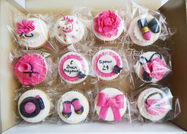 Fondant cupcakes.Dresses/shoes/bags Channel