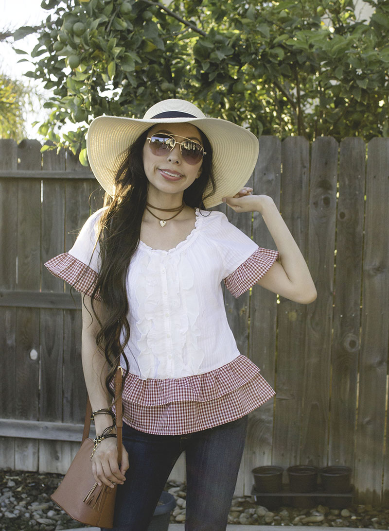 ruffle top blouse refashion upcycle gingham sunglasses