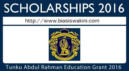 Biasiswa Tunku Abdul Rahman Education Grant (PPTAR) 2016