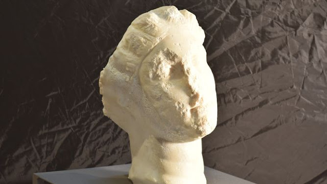 Head of Roman sculpture found during excavations in Caldes de Montbuí, Barcelona