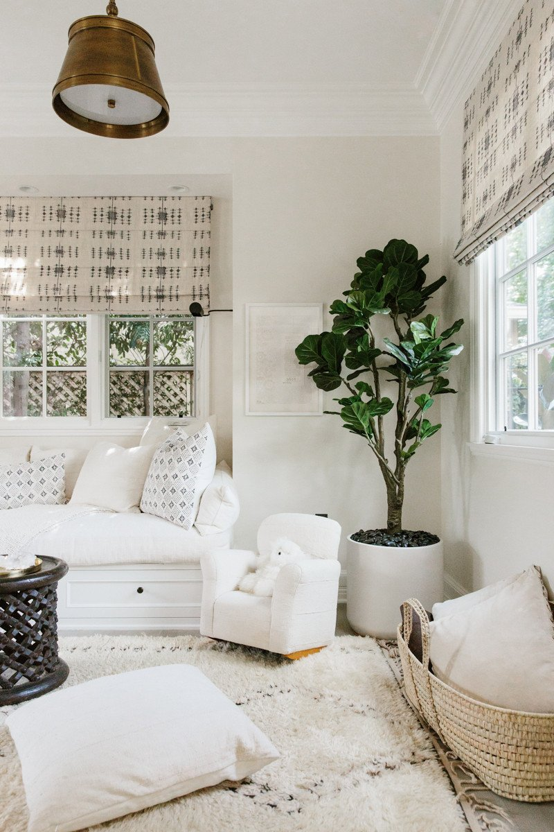 Erin Fetherston boho chic California farmhouse decor with mud cloth and Moroccan rug