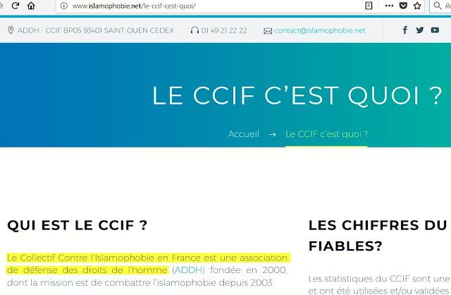 """Le CCIF se présente comme """"une association de défense des droits de l'homme"""", homme avec un """"h"""" minuscule."""