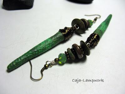 grüne Clay-Lampwork Ohrringe