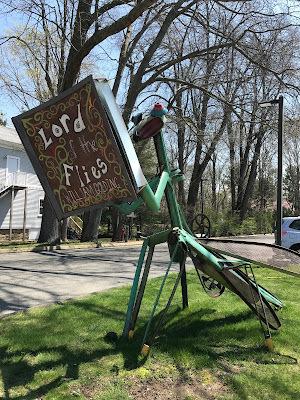 Metal sculpture, Dragonfly reading Lord of the Flies, Acton Library, Old Saybrook, CT (front)
