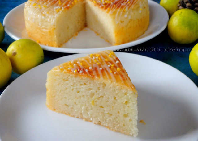 Ambrosia Lemon Cake Eggless