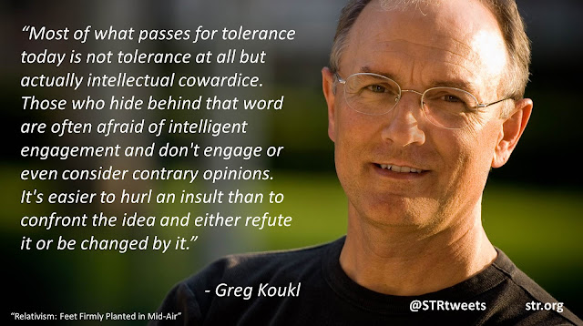 "Quote by Greg Koukl from the book Relativism: Feet Firmly Planted In Mid-Air: ""Most of what passes for tolerance today is not tolerance at all but actually intellectual cowardice. Those who hide behind that word are often afraid of intelligent engagement and don't engage or even consider contrary opinions. It's easier to hurl an insult than to confront the idea and either refute it or be changed by it."""