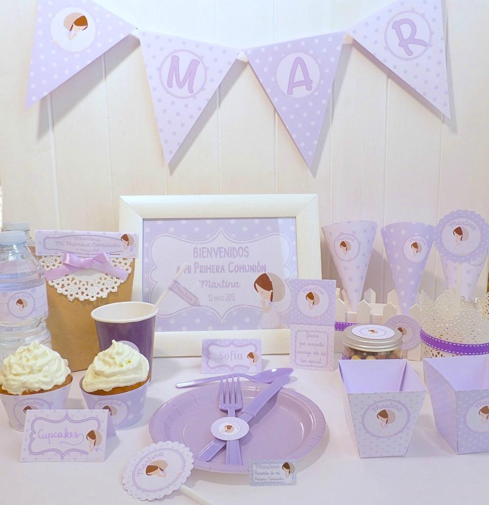 Kit de fiesta imprimible comunión lila topos niña