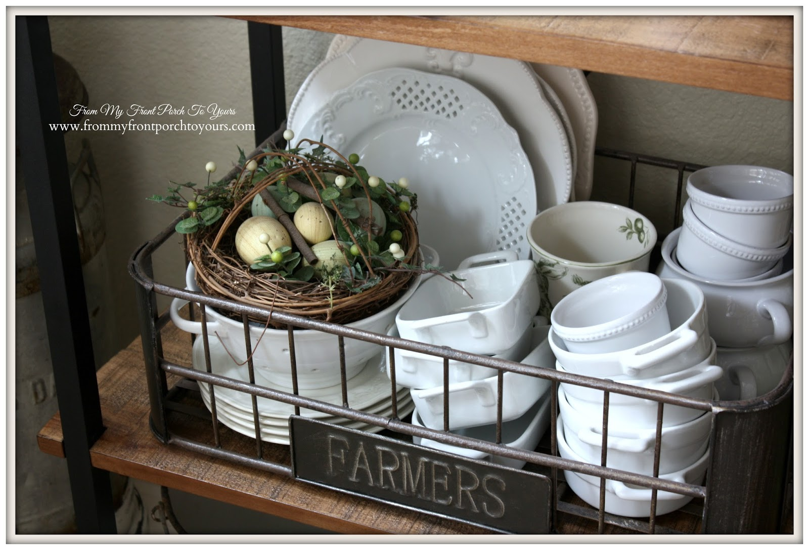 French Farmhouse Spring Breakfast Nook- From My Front Porch To Yours- Nest Vignette