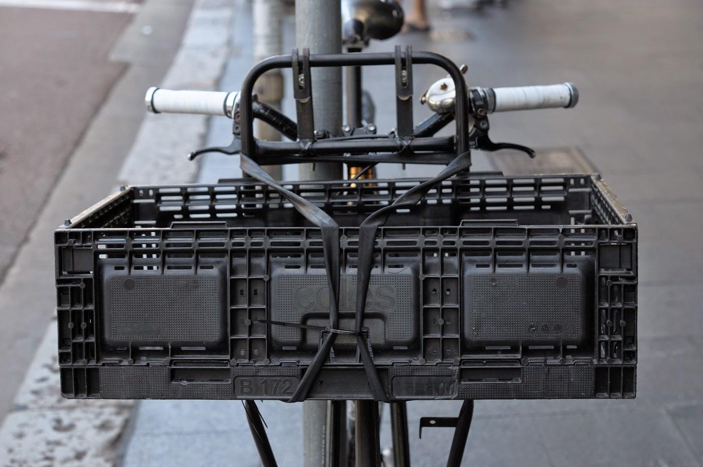 The Biketorialist, tim Macauley, bespoke, custom, bicycle, bike, street, style, the light monkey collective, Sydney,  Australia, respoke, track frame, internally geared, internal hub, strada pro model, courier bike, front basket,