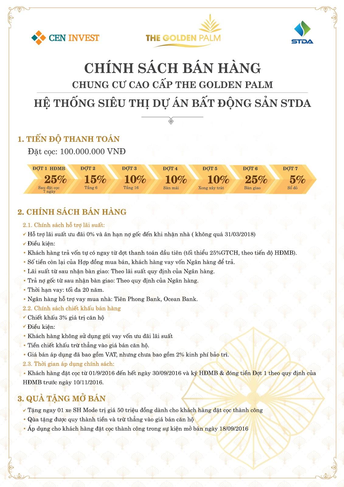 Chính sách bán hàng và ưu đãi cho khách hàng tại chung cư The Golden Palm