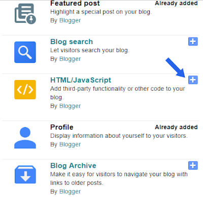 adding html codes to blogger gadget