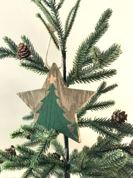 Wooden star stenciled ornaments