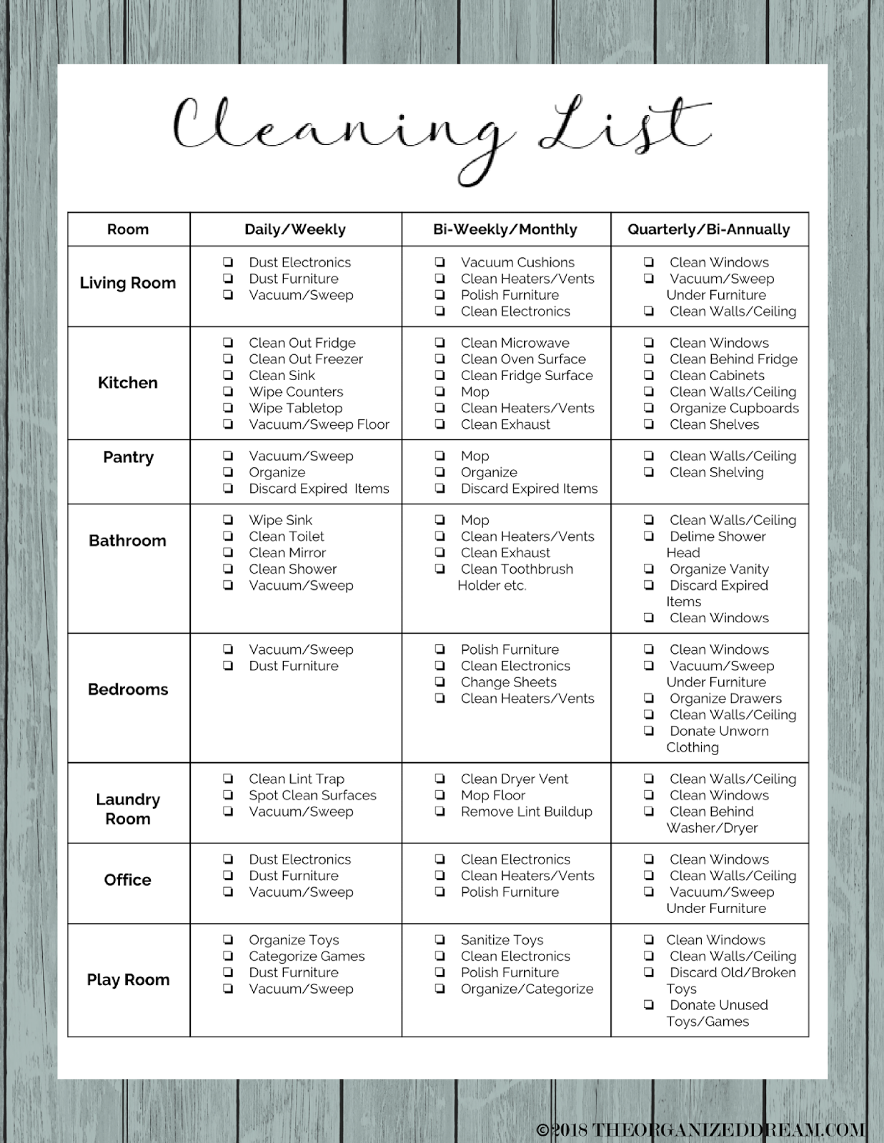 chore list daily weekly monthly