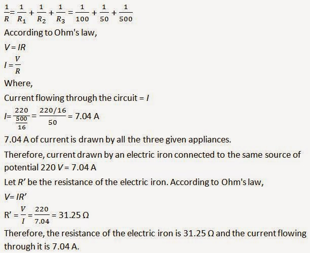 NCERT Solutions for Class 10th: Ch 12 Electricity Science