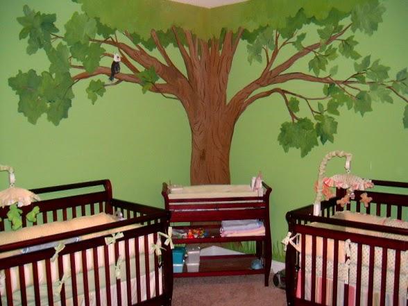 Dormitorio verde para bebés