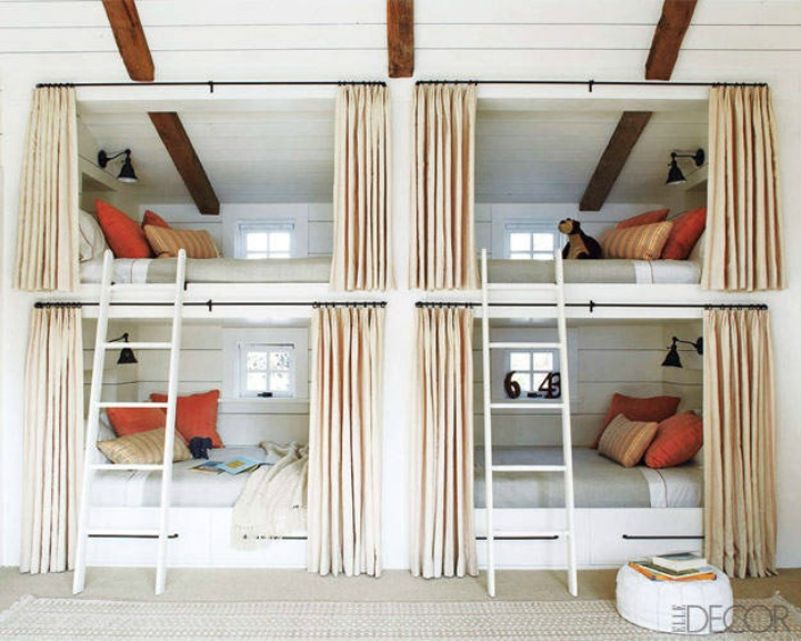 Chic beach house bunk room