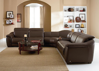 Baers Natuzzi B641 Contemporary Leather Reclining Sectional Sofa