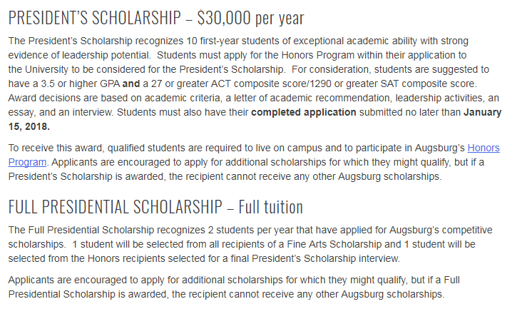 Full Presidential Scholarships The Augsburg University in USA