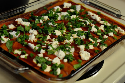 Cheese Enchiladas with Queso Fresco, Scallions, and Cilantro - Photo by Taste As You Go