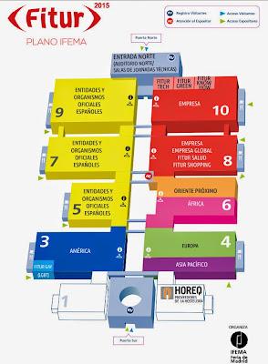 Plano pabellones, Fitur, Feria intenacional de turismo, Madrid, La vuelta al mundo de Asun y Ricardo, round the world, mundoporlibre.com