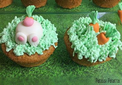 dessert de Pâques, carrot cake, cake design, lapins pâte à sucre, carottes pâte à sucre, cream-cheese