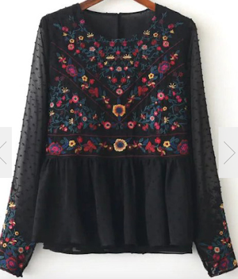 Black-Floral-Embroidery-Mesh-Blouse