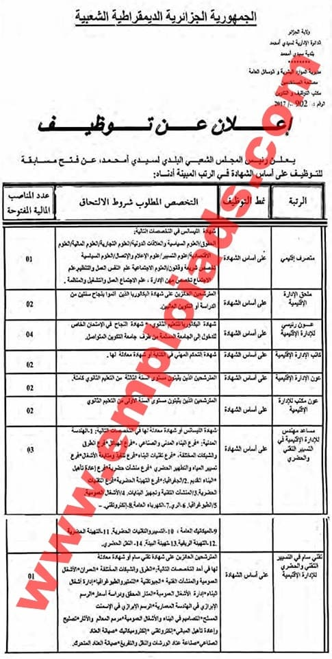 اعلان مسابقة توظيف ببلدية سيدي احمد ولاية الجزائر نوفمبر 2017
