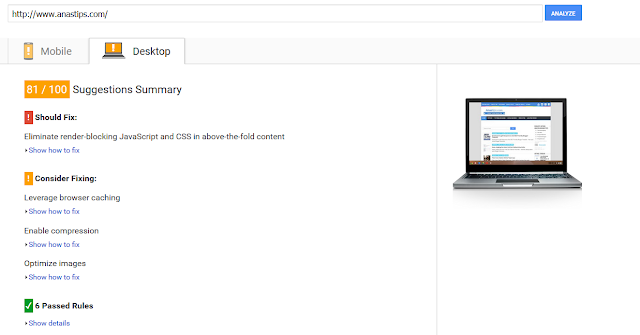 Tes Kecepatan Loading Anas Blogging Tips Via PageSpeed Insight Desktop