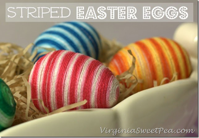 Striped Easter eggs with string.