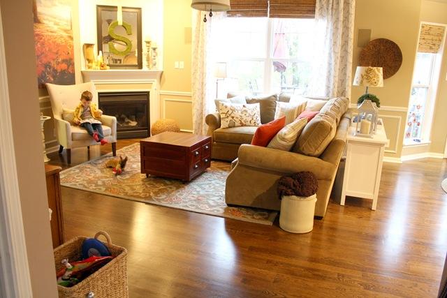 Corner fireplace in family room