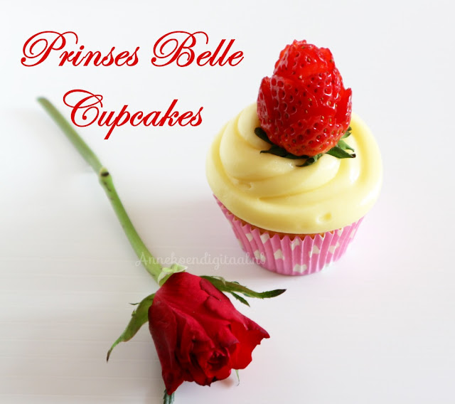 prinses belle traktatie cupcakes, belle traktatie, belle cupcakes, cupcakes belle en het beest, beauty en het beest traktatie, belle en het beest feestje