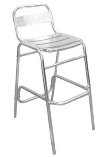 Patio Bar Stool Chair with Back Aluminium Pack of 4