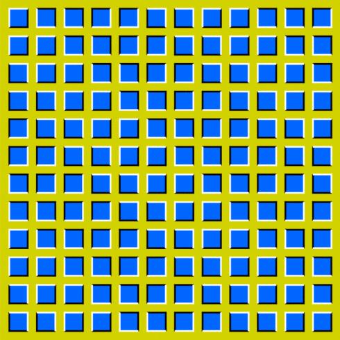 Sarı bir kare içerisindeki küçük mavi kareler dalgalanıyor