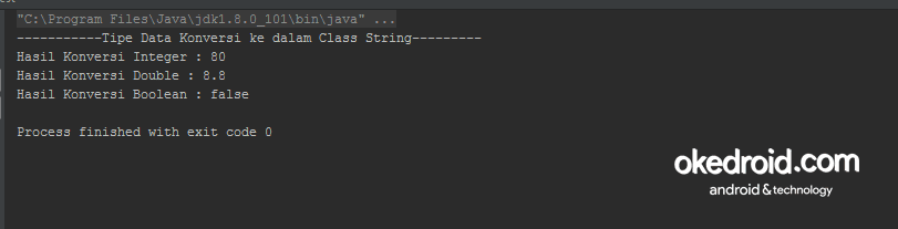 Contoh Output Hasil valueof String Program Java
