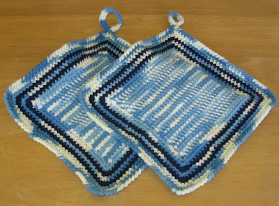 Potholders in Denim Blue and Navy Blue - By RSS Designs In Fiber on Etsy