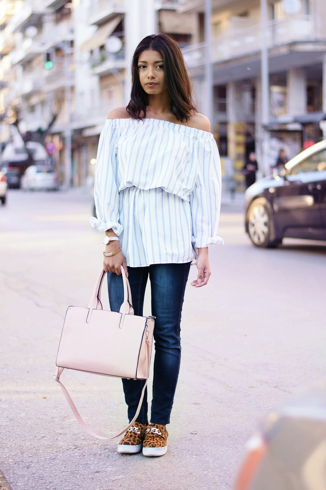 off shoulder dress with sleeves
