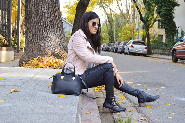 Pink Jacket and Faux Leather Trousers