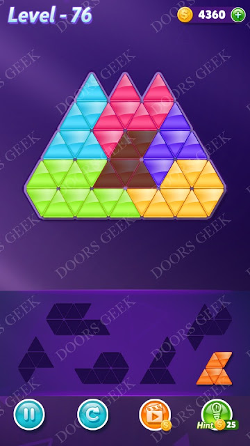 Block! Triangle Puzzle Intermediate Level 76 Solution, Cheats, Walkthrough for Android, iPhone, iPad and iPod