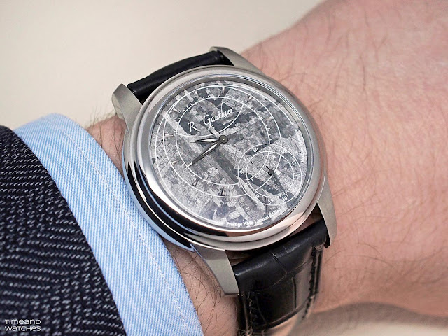 Wristshot of the Romain Gauthier Prestige HMS Stainless Steel with Meteorite Dial