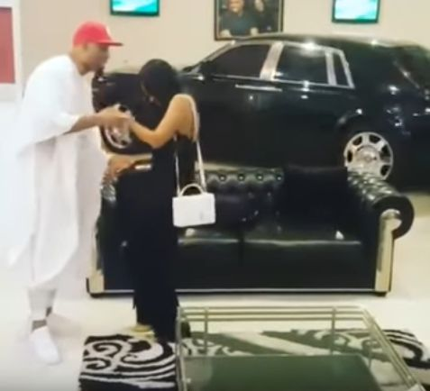 Lagos Big Boy Dilly mounts Rolls Royce in his living room