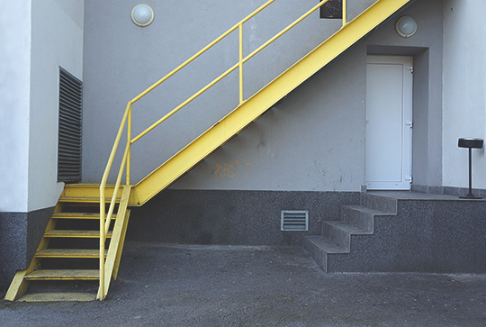 urban photography, urban photo, grey, yellow, stairs, industrial, contemporary, photo, Sam Freek
