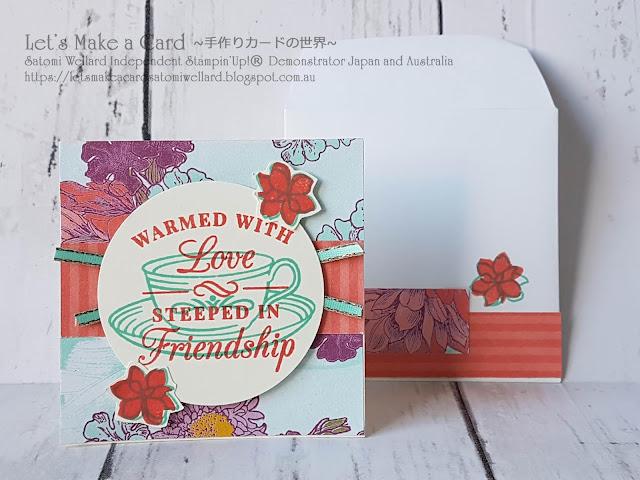 Time for Tea 3x3minni card and matching envelope  Satomi Wellard-Independent Stampin'Up! Demonstrator in Japan and Australia, #su, #stampinup, #cardmaking, #papercrafting, #rubberstamping, #stampinuponlineorder, #craftonlinestore, #papercrafting  #timefortea #miincardsandmatchiingenvelopes  #スタンピン #スタンピンアップ #スタンピンアップ公認デモンストレーター #ウェラード里美 #手作りカード #スタンプ #カードメーキング #ペーパークラフト #スクラップブッキング #ハンドメイド #オンラインクラス #スタンピンアップオンラインオーダー #スタンピンアップオンラインショップ  #動画 #フェイスブックライブワークショップ #タイムフォーティー #サンキューカード