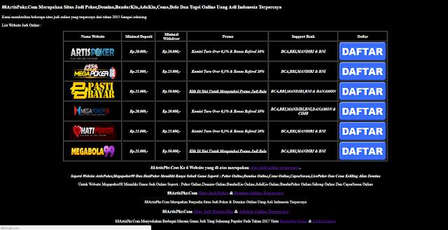 88ArtisPkr Situs Judi Poker,Domino,BandarKiu,AduKiu Dan Bola Online Terpercaya