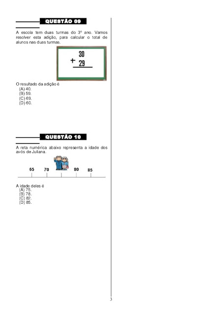 Simulado de Matemática para o 4º ano
